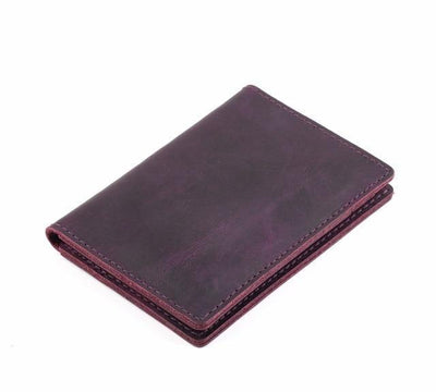 Men's Leather Card Wallet - Purple