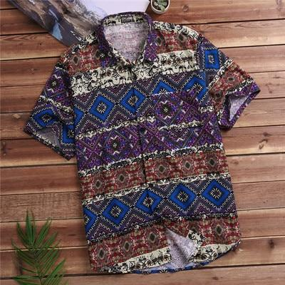 Bohemian Button Down Shirt - Purple / L
