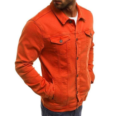 Vintage Style Denim Jacket - Orange / M