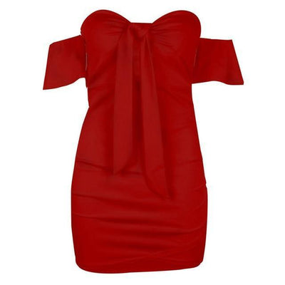 Bodycon Bowknot Dress - Red / S