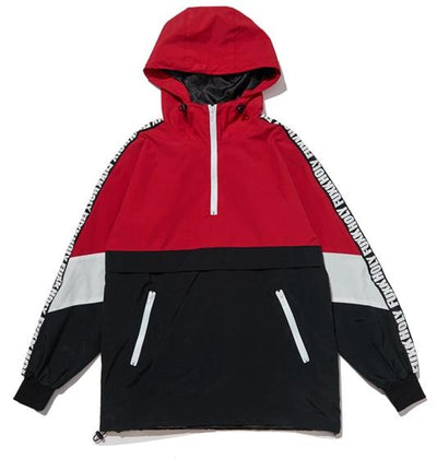 Fuxk Patchwork Hoodie - Red / M