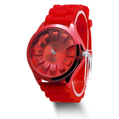 Jelly Band Flower Dial Wrist Watches - Red