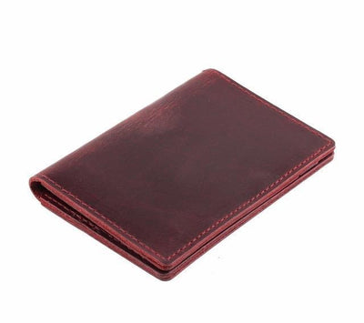 Men's Leather Card Wallet - Red