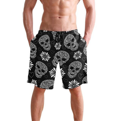 Skull Board Shorts - Red / S