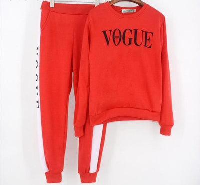 Vogue Tracksuit Set - Red / S