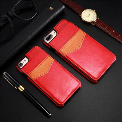 Vertical Flip Wallet Case For iPhone - Red / For iPhone 6 6S