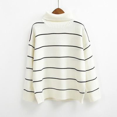 Turtleneck Striped Sweater - Rice white / One Size