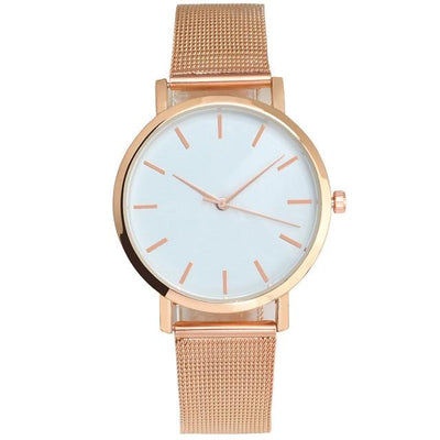 Mesh Strap Analog Quartz Watch - Rose gold