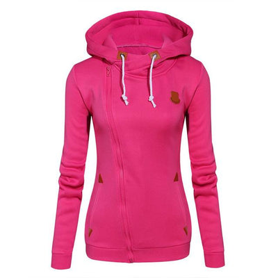 Women's Long Zip Up Sweatshirt Hoodie - Rose red / S