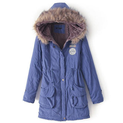 Plus Size Fur Winter Coat - Royal blue / S