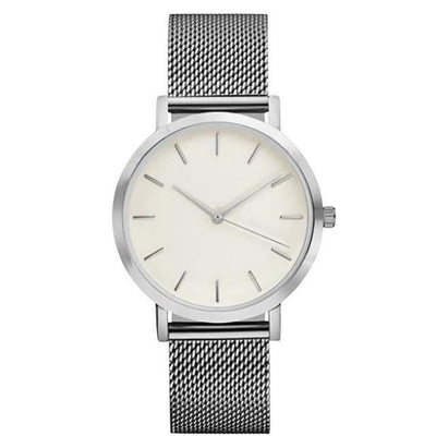 Women Crystal Stainless Steel Watch - Silver