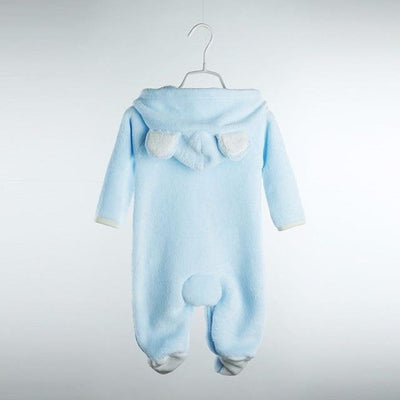 Grizzly Bear Fleece Romper - Sky Blue / 3M