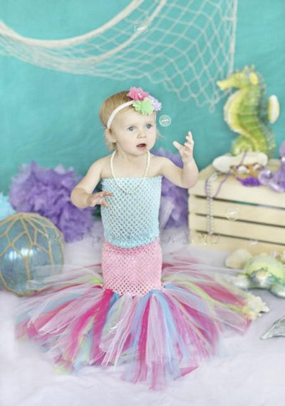 Strapless Mermaid Tutu Dress - Blue / 2T