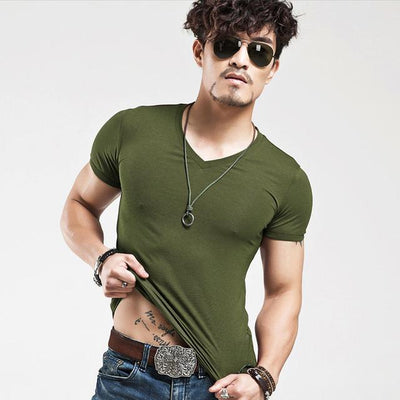 Fit Casual Men's T-Shirt - V Army Green / S