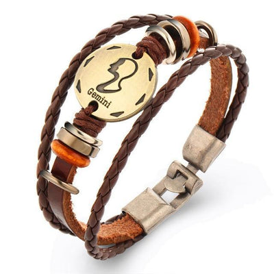 Cool Braided Leather Zodiac Bracelets - Gemini