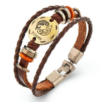 Cool Braided Leather Zodiac Bracelets - Pisces