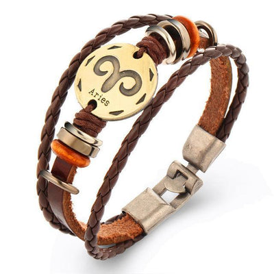 Cool Braided Leather Zodiac Bracelets - Aries