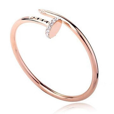 Trendy Nail Bangle - Rose Gold with rhinnestone