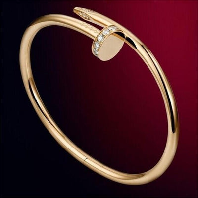 Trendy Nail Bangle - Gold with rhinestone