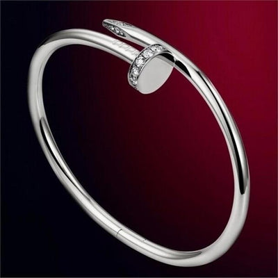 Trendy Nail Bangle - Silver with rhinestone