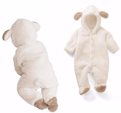 Grizzly Bear Fleece Romper - White / 3M