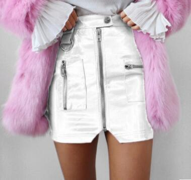 Faux Leather Mini Skirt - White / S