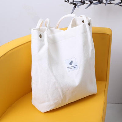 Reusable Corduroy Shopping Bag - White