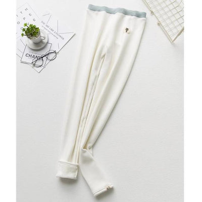 Cat Warm Fleece Leggings - White