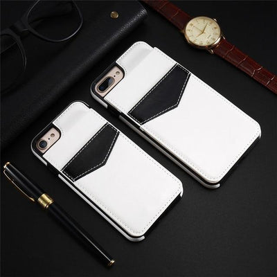 Vertical Flip Wallet Case For iPhone - White / For iPhone 6 6S