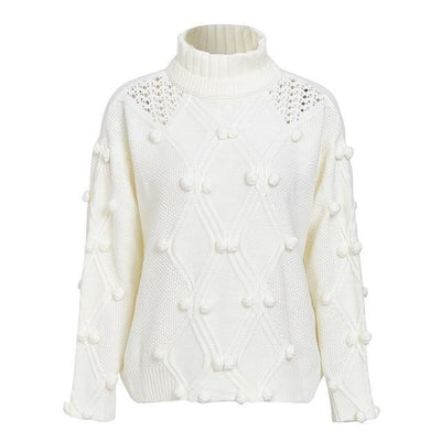 Oversize Knitted Turtleneck Sweater - White