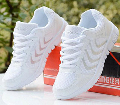 Womens Tennis Sport Shoes - White / 4.5