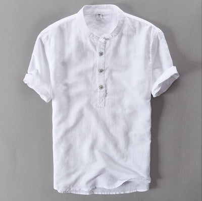 Banded Collar Shirt - White / M
