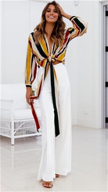 Elegant Wide Leg Trouser - White / S