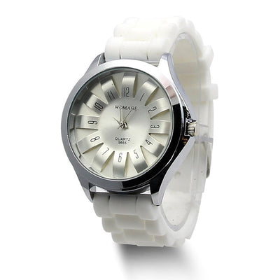 Jelly Band Flower Dial Wrist Watches - White