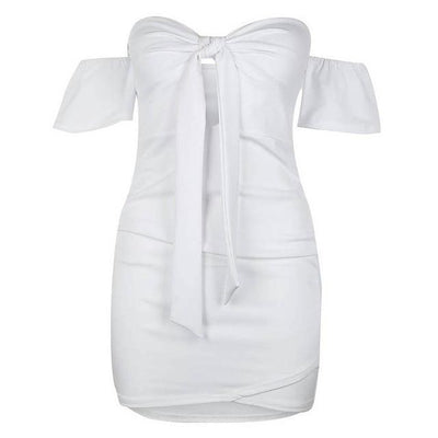 Bodycon Bowknot Dress - White / S