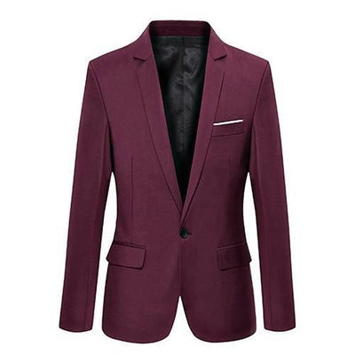 Men's Slim Suit Blazer - Wine Red / S