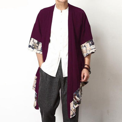 Chinese Style Cardigan - Wine Red / S