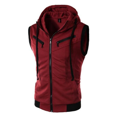 Sleeveless Training Hoodie - Wine Red / M