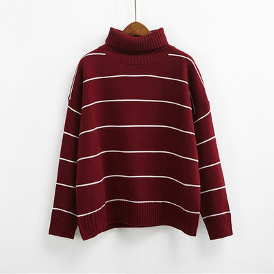 Turtleneck Striped Sweater - Wine red / One Size