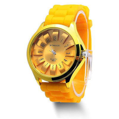 Jelly Band Flower Dial Wrist Watches - Yellow