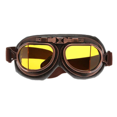 Retro Steampunk Copper Motorcycle Goggles - Yellow Lens