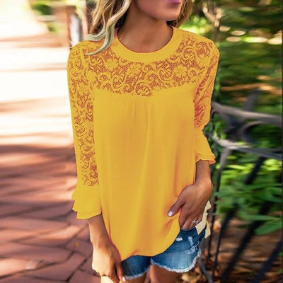 Casual Autumn Lace Blouse - Yellow / S