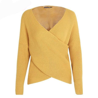V-Neck Cross Knitted Wrap Sweater Top -