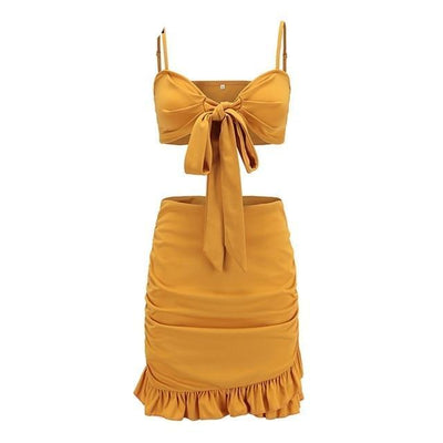 Sexy 2-Piece Set - Yellow / S