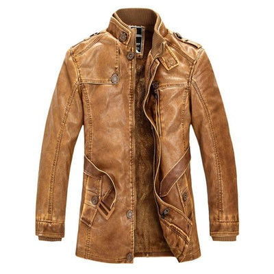 Classic Leather Motorcycle Jacket - Yellow / M