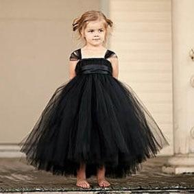 Sleeveless Bow Tulle Dress - black / 2T