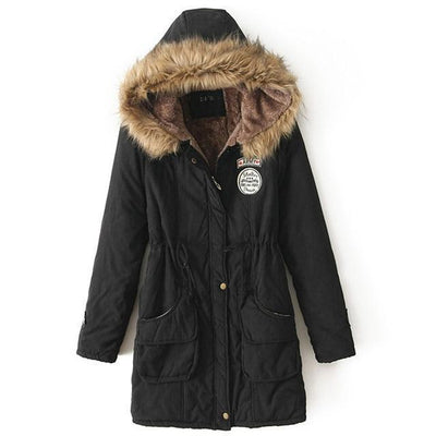 Plus Size Fur Winter Coat - black / S