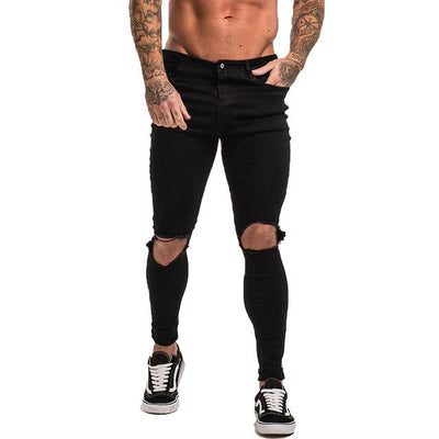 Slim-Fit Ripped Jeans - black knee hole / 28