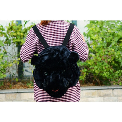 Plush 3D Animal Head Backpack - black panther