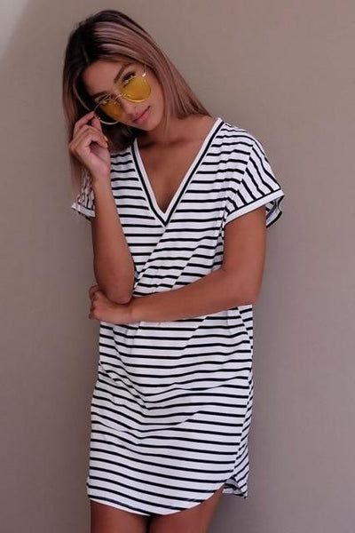 Casual Striped Mini Dress - black white / S